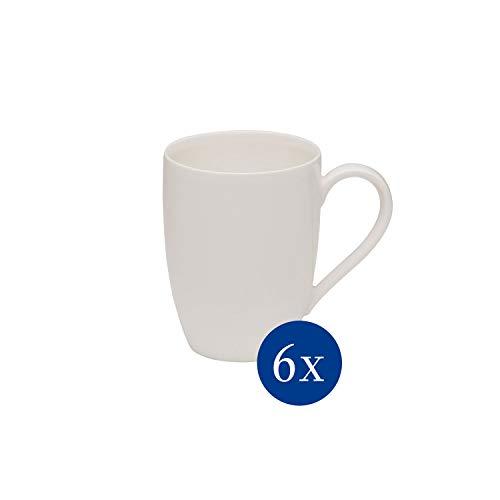 vivo by Villeroy & Boch Group - Basic White Kaffeetassen-Set, 6 tlg., 300 ml, Premium Porzellan, spülmaschinen-, mikrowellengeeignet, weiß
