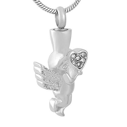 KBFDWEC Cremains de Amor para Cenizas con corazón de Cristal urna funeraria urna Conmemorativa joyería de cremación Soporte de Ceniza Collar de urna