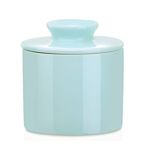 LOVECASA Mantequillera de Porcelana con Tapa, Estilo Francesa, Recipiente para Mantequilla, Butter Keeper, 6.5 onzas Color Azul