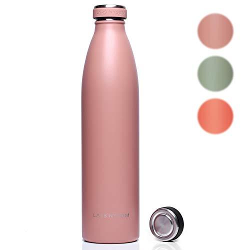 LARS NYSØM roestvrij staal 1 liter drinkfles Elementen | BPA-vrije geïsoleerde fles | lekvrije waterfles voor sport, fiets, hond, baby, kinderen (roze)