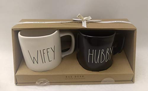 Rae Dunn By Magenta Wifey, Hubby Ceramic LL Coffee Tea Mug 2019 Limited Edition