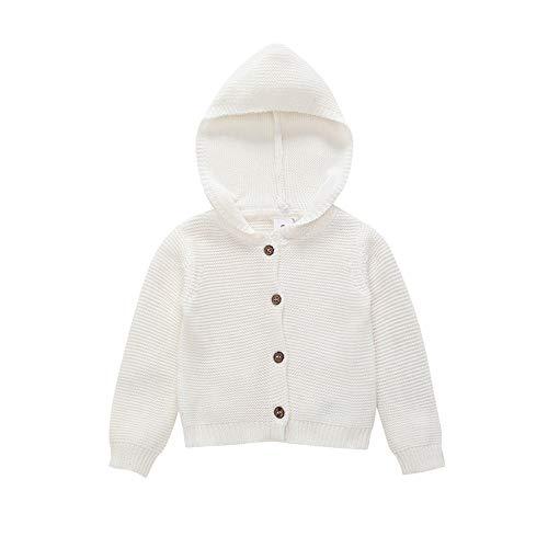 Neonato Unisex Maglia Bottone Cardigan Cappotto con Cappuccio Caldo Maglione Giacche Bambino Solido Mantello Vestiti