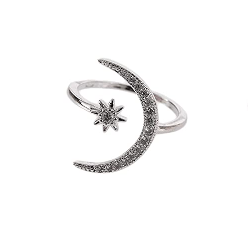 Zici - Anillo de plata con forma de media luna abierta con incrustaciones de diamantes de imitación para aumentar el encanto personal