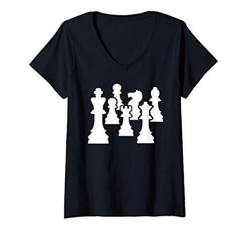 Mujer Piezas de ajedrez Camiseta Cuello V
