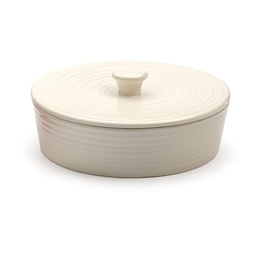 RSVP International White Stoneware Tortilla Warmer & Server, 8.5' x 3' | Lead Free | Warm Tortillas, Pancakes & More | Holds 20 8' Tortillas | Dishwasher, Microwave & Oven Safe