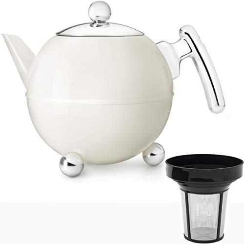 Bredemeijer Edelstahl Teekanne Set 1,2 Liter Weiss doppelwandig mit Teefilter Sieb