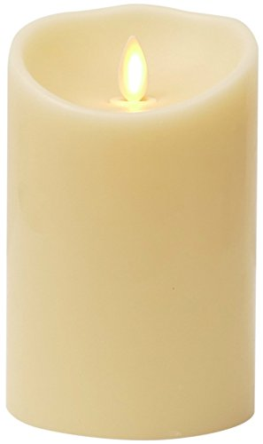 Luminara Flameless Candle: Unscented Moving Flame Candle with Timer (5' Ivory)