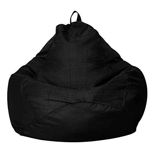 Puff Funda de Bean Bag(Sin Relleno),Funda para Sillón Puff Cubierta para Sofá Perezoso Fundas Clásicas de Puff Pera Bolsa de Frijol para Silla Tumbona Perezosa para Adultos y Niños(Negro,90x110cm)