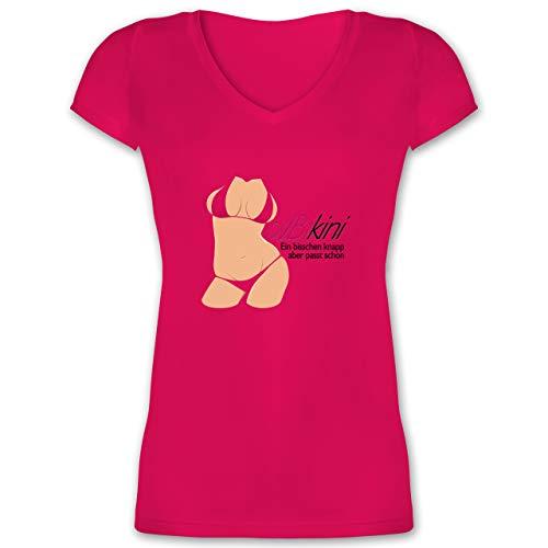 Abi & Abschluss - ABIkini - EIN bisschen knapp - M - Fuchsia - Bikini knapp - XO1525 - Damen T-Shirt mit V-Ausschnitt