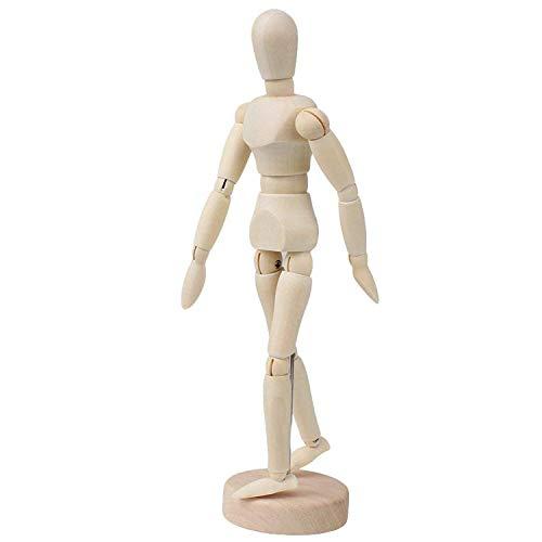 Maniquí Humano de Madera, Ouinne 8 Pulgada Femenino Figura Articulada Muñeco Humano de Madera para Dibujo y Pintura
