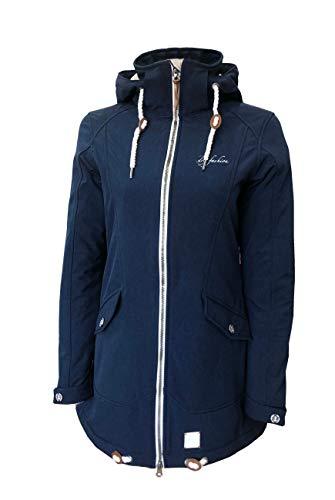 Dry Fashion Damen Softshellmantel List meliert Funktionsmantel Parka, Farbe:dunkelblau meliert, Größe:40