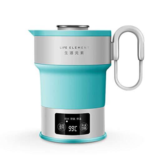 Hervidor de agua de viaje, 0,6 l, pequeño hervidor de agua plegable de 100 V-240 V, portátil, hervidor de agua plegable para camping