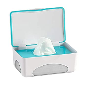 hiccapop Diaper Wipes Dispenser Baby Wipes Case   Baby Wipe Holder Keeps Wipes Fresh   Non-Slip Easy Open & Close Wipe Container  Teal w/ Clear Window