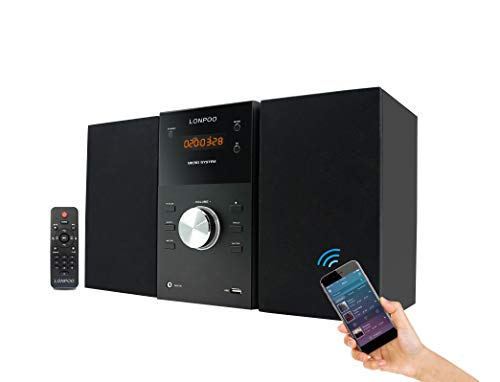 LONPOO Kompaktanlagen Micro-Stereoanlage System mit CD-Player, Bluetooth, UKW Radio, USB, AUX-in, Fernbedienung (Black)