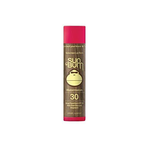 Sun Bum Lip Balm | SPF 30 | 0.15 Ounce Stick | Broad Spectrum UVA, UVB Protection, Hypoallergenic, Paraben Free, Gluten Free, Vegan | Watermelon | 6 Pack