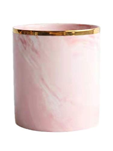 Portalápices de cerámica con aspecto de mármol, recipiente para bolígrafos, recipiente para pinceles, caja multifuncional, organizador de cosméticos para casa, oficina o cocina, Rosa.