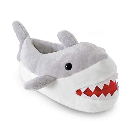 Kids Boys Slippers Boots Bootie Plush Animal Monster Novelty Warm Fluffy Gift, Grey 3d Shark, 11/12 UK Child