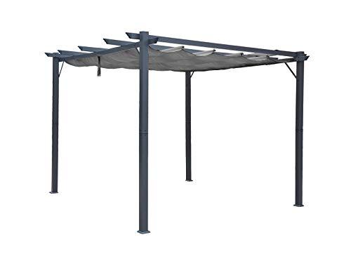 Jet-line Pavillon Pergola Gazebo Kairo 3x3m KD anthrazit/anthrazit Selbstzusammenbau Sonnenschutz Überdachung Gartenzelt Terrassendach Gartendach