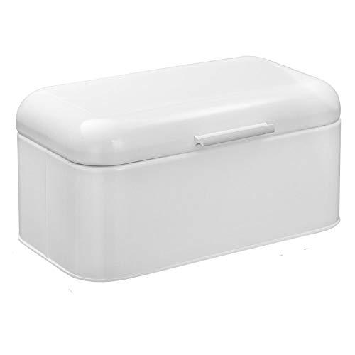 HollyHOME - Panera cuadrada de metal retro, extra grande, contenedor de almacenamiento para encimera de cocina, contenedor de almacenamiento de alimentos secos, color blanco