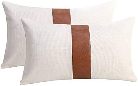 cygnus Set of 2 White Linen Patchwork Faux Leather Throw Lumbar Pillow Covers for Couch Living product image