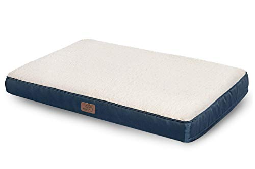 Bedsure Extra Large Dog Bed for Small, Medium, Large Dogs/Cats Up to 100lbs - Orthopedic Egg-Crate Foam with Removable Washable Cover - Water-Resistant Pet Mat for Crate, Denim Blue
