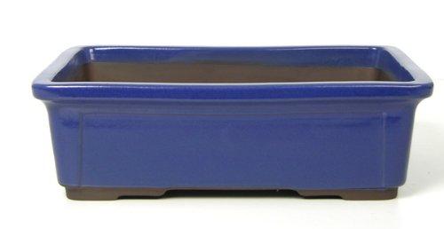 CERTRE Vaso Bonsai Rettangolare 7000 in gres - cm.38,5x28 h.12- Colore Blu Elettrico Smaltato
