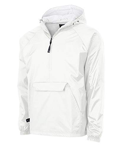 Charles River Apparel Wind & Water-Resistant Pullover Rain Jacket (Reg/Ext Sizes), White, M