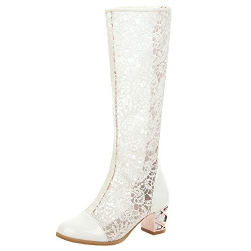 LUXMAX Kniehohe Sommerstiefel Damen mit Lochmuster 5cm Absatz Chunky Heels Sandalen Mesh Schuhe