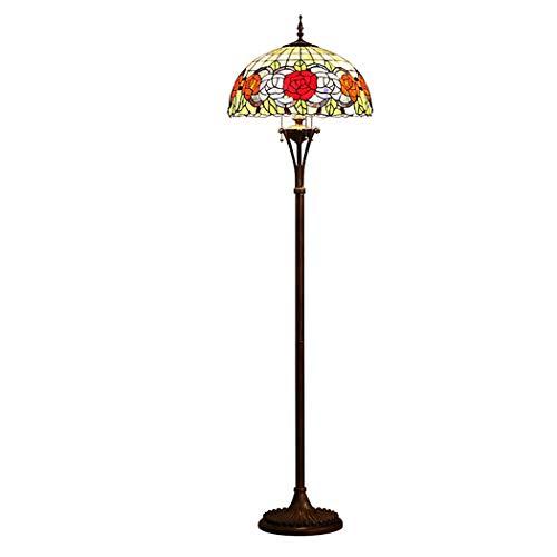 LHFJ Tiffany de pie Lámpara de pie, matiz Rojo Naranja Hojas Verdes Stained Glass Floor Aplique de la lámpara, Habitación Sala de Lectura Iluminación con Interruptor de cordón de Tiro