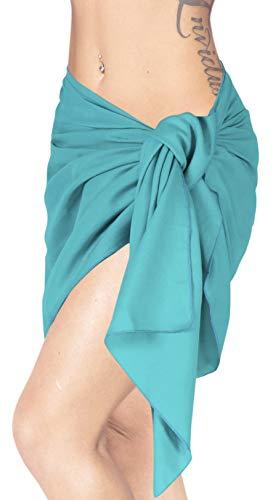 LA LEELA Bufanda para Cubrir la Cara Suavizar rayón sólido del Traje de baño del Bikini Playa de la Falda Pareo 78x21 Pulgadas Verde