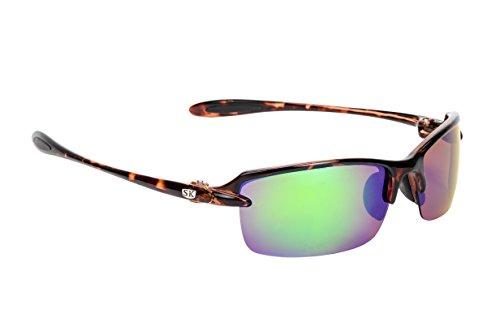 Strike King Plus Sabine Polarized Sunglasses, Shiny Tortoise Shell Frame/Green Mirror Gray Base Lens