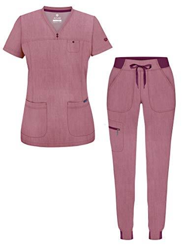 Adar Pro Heather Movement Booster Scrub Set for Women - Sweetheart V-Neck Scrub Top & Yoga Jogger Scrub Pants - P9400H - Heather Wine - L
