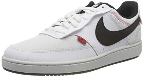 Nike Court Vision LO Prem, Zapatillas de Baloncesto. para Hombre, White Black Photon Dust Gym Red, 44.5 EU