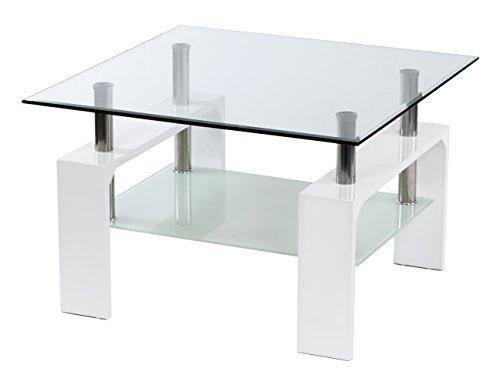 ts-ideen Design Glastisch Beistelltisch Edelstahl Hochglanz Weiß + 8 mm ESG Glas
