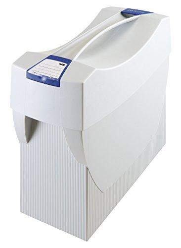 HAN Hängemappenbox SWING-PLUS 1901-11 in Lichtgrau / Praktische Ordnungsbox mit Deckel für Mappen und Ordner / Integrierter Stifteköcher für das Bürozubehör