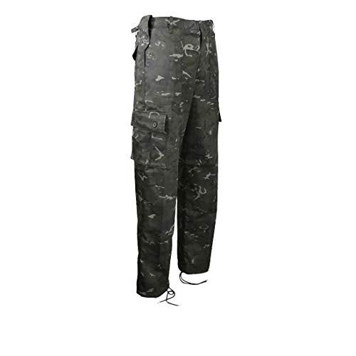 Pantalon de Combat Tactique Ripstop Militaire pour Homme Motif Camouflage DPM BTP Noir, BTP Noir, 42 inch Waist