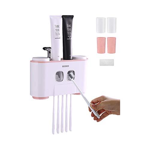 Blusea Zahnbürstenhalter,ecoco Automatisch Wand Montiert Zahnpastaspender und Zahnbürstenhalterung Set für Kinder und Erwachsene (Pink)