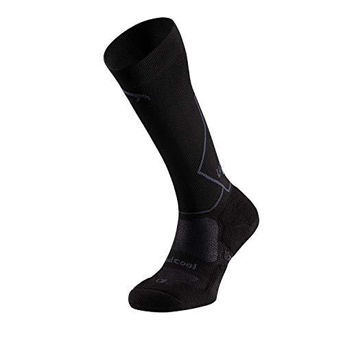 Lurbel Horus, Calcetines compresivos, Calcetines de Trail, Calcetines Transpirables y Anti-ampollas, Calcetines para correr Unisex (NEGRO - MARENGO, GRANDE - L)