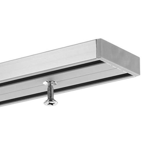 Gardineum 160 cm Vorhangschiene Gardinenschiene, alle Längen bis 4,60 m möglich, Aluminium, 2-läufige graue Objektschiene, vorgebohrt