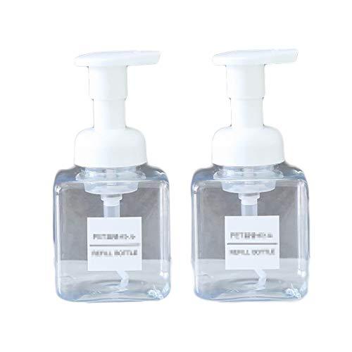 FXJ (2 Paquetes) Manual de jabón Dispensador Loción Botella de Ducha Caja de Gel de plástico de Recipiente para baño y Cocina (Color : Clear, tamaño : 8.5oz)