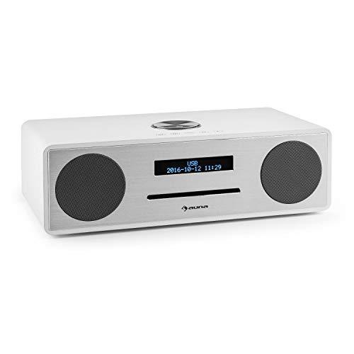 auna Stanford - digitale radio, DAB +, FM-tuner, LED-display, RDS-functie, wekkerradio, USB-poort, CD-speler met sleuf, Bluetooth 3.0, wekker, basreflexbehuizing, afstandsbediening, wit