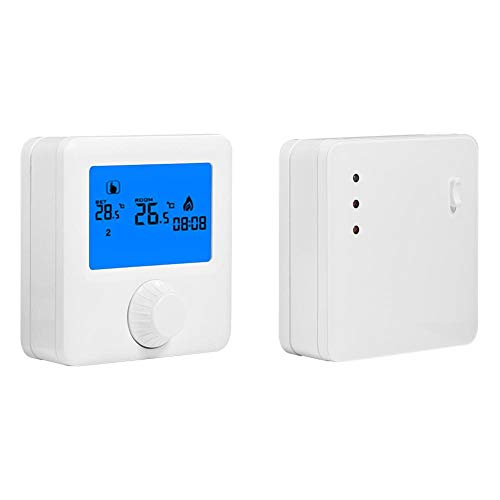 Kabelloser Thermostat, kabelloser Digital-LCD-RF-Heizungsthermostat, Temperaturregler für elektrische Heizung, Raumthermostat für Zentralheizung