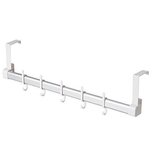 WSWJ Colgadores de Puertas traseras/Perchas Cocina baño/ABS + Aluminio/Blanco/Cinco Ganchos 15.5 * 54.5cm