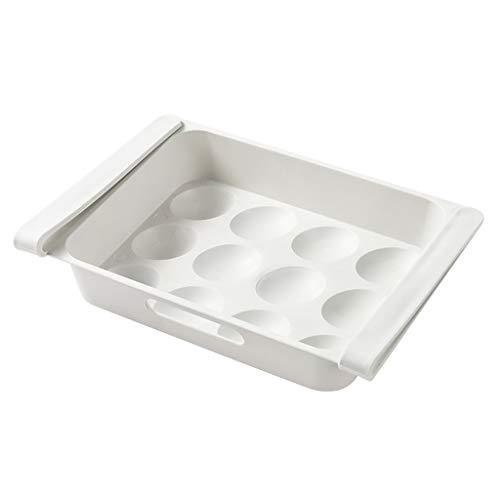 TIREOW Kunststoff Kühlschrank Eier Aufbewahrungsbox Platz für 12 Eier, Lebensmittel Kühlschrank Eierablagen Halter Aufbewahrungsbehälter Fall, Weiß