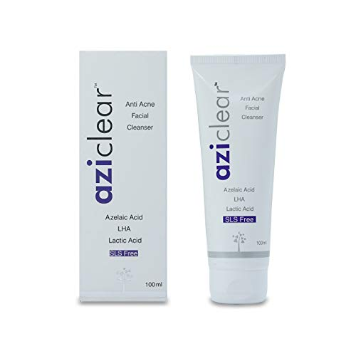 Aziclear Anti-Acne Facial Cleanser with Azelaic Acid, LHA, and Lactic acid for Oily and Acne-prone skin type, 100 ml