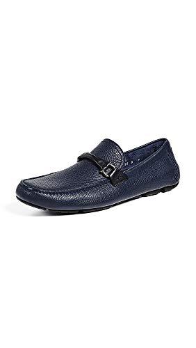 SALVATORE FERRAGAMO Men's Granprix Driver Shoes, Blue Marine, 10 Medium US