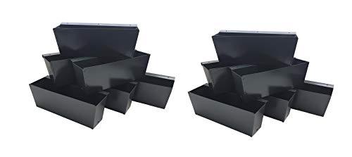 ARTECSIS Pflanzkasten Europalette 12er Set anthrazit Aus Metall Blumenkasten Balkonkasten Blech zum hängen für Paletten/Geländer