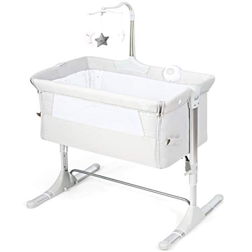 GYMAX Bedside Baby Crib, Adjustable Newborn Sleeping Bed with Retractable Feet, Music Box, 3 Toys and Carry Bag, Folding Detachable Side Infant Bassinet (Light Grey)