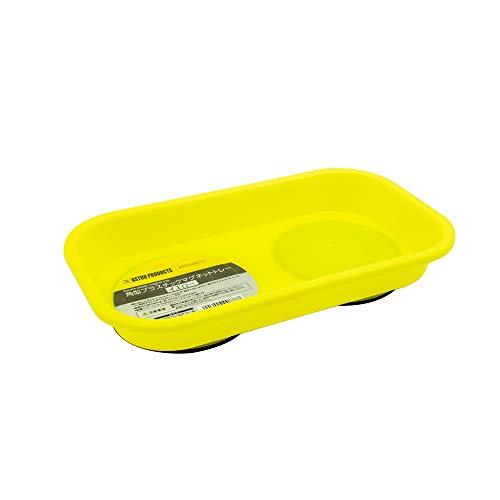 AP 角型プラスチックマグネットトレー イエロー   トレー マグネット マグネットトレー プラスチック 部品 パーツ 受け皿 磁石 落下防止 四角 収納 整理