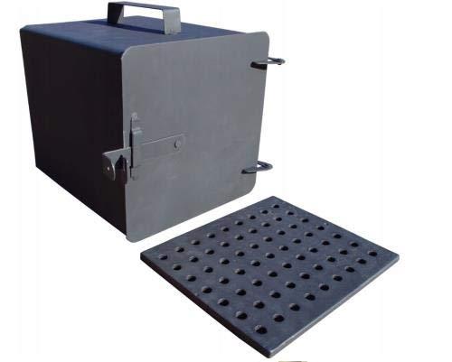QLS Räucherofen Feuerstelle Luftregulierung mit Ofenrost Feuerkammer 25 x 25 x 30 cm